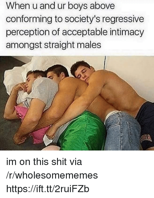 Shit, Perception, and Boys: When u and ur boys above  conforming to society's regressive  perception of acceptable intimacy  amongst straight males im on this shit via /r/wholesomememes https://ift.tt/2ruiFZb