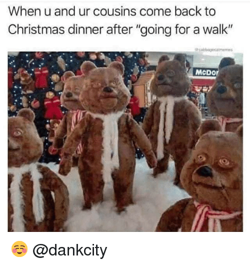 """Christmas, Memes, and Back: When u and ur cousins come back to  Christmas dinner after """"going for a walk""""  McDor ☺️ @dankcity"""