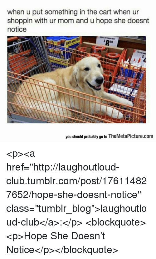"Club, Tumblr, and Blog: when u put something in the cart when ur  shoppin with ur mom and u hope she doesnt  notice  $8  you should probably go to TheMetaPicture.com <p><a href=""http://laughoutloud-club.tumblr.com/post/176114827652/hope-she-doesnt-notice"" class=""tumblr_blog"">laughoutloud-club</a>:</p>  <blockquote><p>Hope She Doesn't Notice</p></blockquote>"