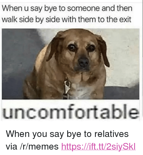"""Memes, Via, and Them: When u say bye to someone and then  walk side by side with them to the exit  uncomfortable <p>When you say bye to relatives via /r/memes <a href=""""https://ift.tt/2siySkI"""">https://ift.tt/2siySkI</a></p>"""