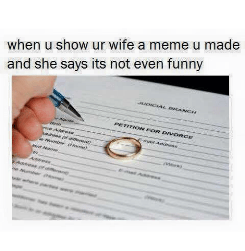 Showe: when u show ur wife a meme u made  and she says its not even funny  BRA  NCH  PETITION FOR DIVORCE