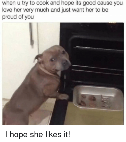 Love, Good, and Proud: when u try to cook and hope its good cause you  love her very much and just want her to be  proud of you I hope she likes it!