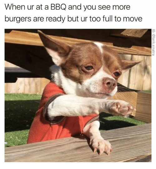 Memes, 🤖, and Move: When ur at a BBQ and you see more  burgers are ready but ur too full to move