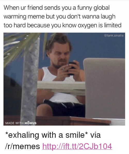 """Funny, Global Warming, and Meme: When ur friend sends you a funny global  warming meme but you don't wanna laugh  too hard because you know oxygen is limited  @tank.sinatra  MADE WITH MOMUS <p>*exhaling with a smile* via /r/memes <a href=""""http://ift.tt/2CJb104"""">http://ift.tt/2CJb104</a></p>"""