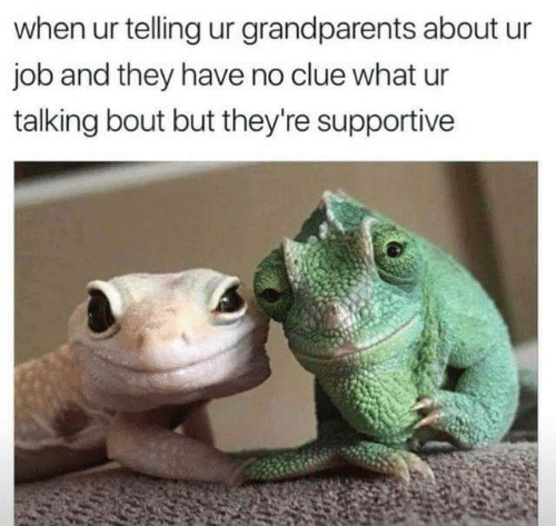 supportive: when ur telling ur grandparents about  job and they have no clue what ur  talking bout but they're supportive