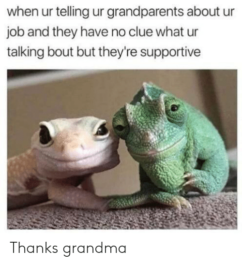 Grandma, Job, and Clue: when ur telling ur grandparents about  job and they have no clue what ur  talking bout but they're supportive Thanks grandma