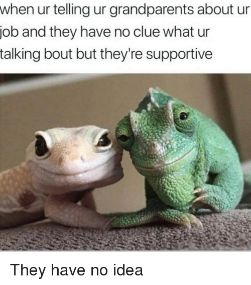 Idea, Job, and Clue: when ur telling ur grandparents about ur  job and they have no clue what ur  talking bout but they're supportive They have no idea