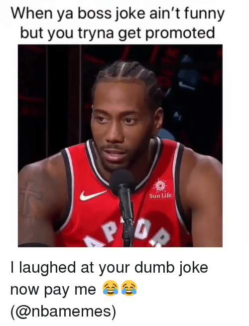 Dumb, Funny, and Life: When ya boss joke ain't funny  but you tryna get promoted  Sun Life I laughed at your dumb joke now pay me 😂😂 (@nbamemes)