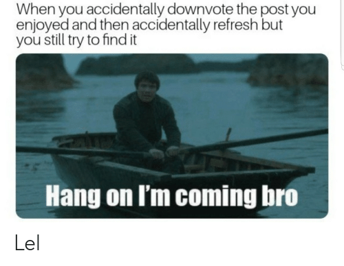 refresh: When you accidentally downvote the post you  enjoyed and then accidentally refresh but  you still try to find it  Hang on I'm coming bro Lel