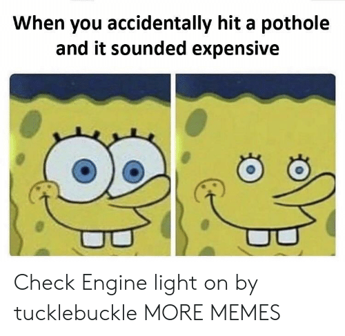 Light On: When you accidentally hit a pothole  and it sounded expensive Check Engine light on by tucklebuckle MORE MEMES