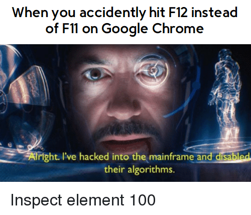 accidently: When you accidently hit F12 instead  of Fll on Google Chrome  Iright. I've hacked into themainframeand disabled  their algorithms. Inspect element 100