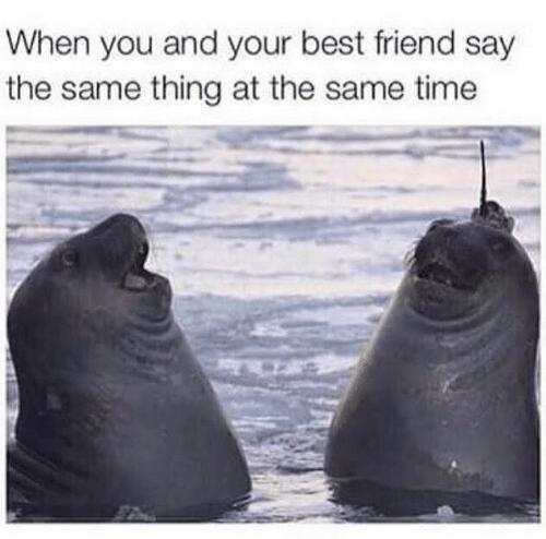 Best Friend, Best, and Time: When you and your best friend say  the same thing at the same time