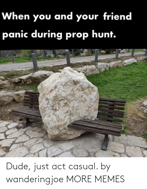 panic: When you and your friend  panic during prop hunt. Dude, just act casual. by wanderingjoe MORE MEMES