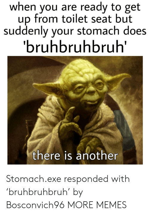 Dank, Memes, and Target: when you are ready to get  up from toilet seat but  suddenly your stomach does  'bruhbruhbruh  there is another Stomach.exe responded with 'bruhbruhbruh' by Bosconvich96 MORE MEMES