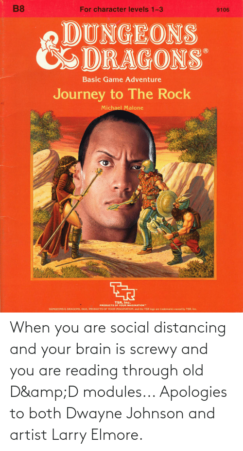 Dwayne Johnson, Brain, and DnD: When you are social distancing and your brain is screwy and you are reading through old D&D modules... Apologies to both Dwayne Johnson and artist Larry Elmore.