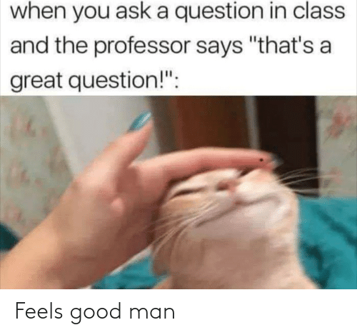 "A Great: when you ask a question in class  and the professor says ""that's a  great question!"": Feels good man"