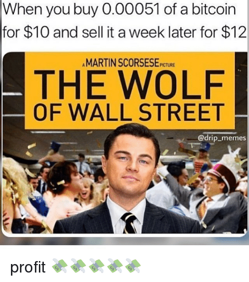 The Wolf of Wall Street: When you buy 0.00051 of a bitcoin  for $10 and sell it a week later for $12  MARTIN SCORSESE PICTURE  THE WOLF  OF WALL STREET  @drip_memes profit 💸💸💸💸💸