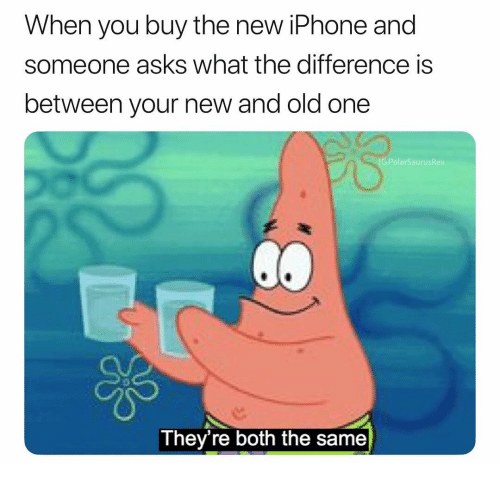 New Iphone: When you buy the new iPhone and  someone asks what the difference is  between your new and old one  G:Pol  aurusRex  They're both the same