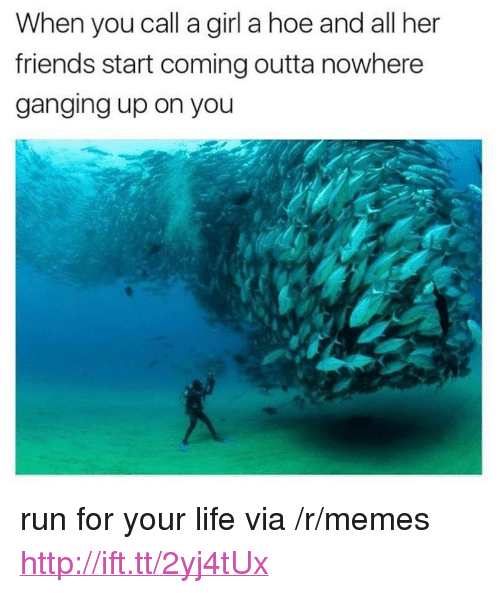 """run for your life: When you call a girl a hoe and all her  friends start coming outta nowhere  ganging up on you <p>run for your life via /r/memes <a href=""""http://ift.tt/2yj4tUx"""">http://ift.tt/2yj4tUx</a></p>"""