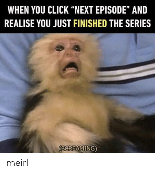 """Click, MeIRL, and Next: WHEN YOU CLICK """"NEXT EPISODE"""" AND  REALISE YOU JUST FINISHED THE SERIES  SCREAMING) meirl"""