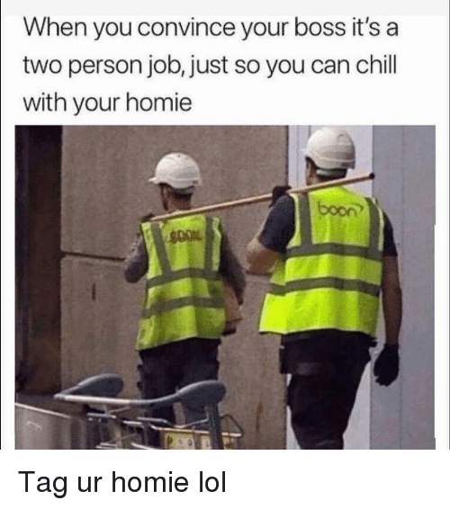Chill, Funny, and Homie: When you convince your boss it's a  two person job, just so you can chill  with your homie  boon Tag ur homie lol