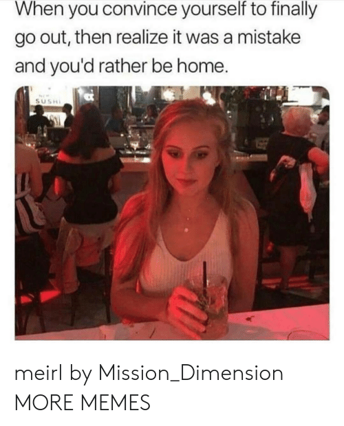 Sush: When you convince yourself to finally  go out, then realize it was a mistake  and you'd rather be home  SUSH meirl by Mission_Dimension MORE MEMES