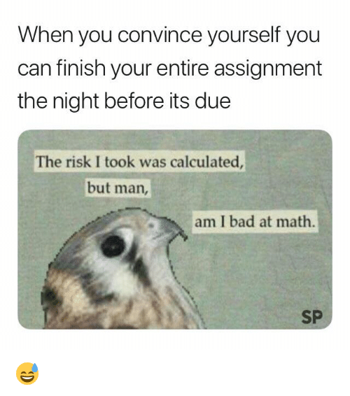 But Man Am I Bad At Math: When you convince yourself you  can finish your entire assignment  the night before its due  The risk I took was calculated  but man,  am I bad at math.  SP 😅
