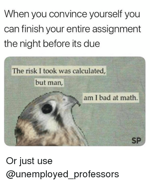 But Man Am I Bad At Math: When you convince yourself you  can finish your entire assignment  the night before its due  The risk I took was calculated  but man,  am I bad at math.  SP Or just use @unemployed_professors