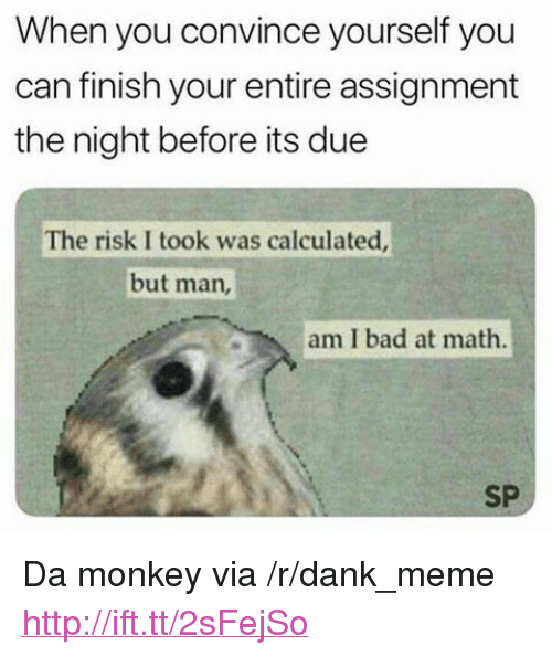 """But Man Am I Bad At Math: When you convince yourself you  can finish your entire assignment  the night before its due  The risk I took was calculated  but man,  am I bad at math.  SP <p>Da monkey via /r/dank_meme <a href=""""http://ift.tt/2sFejSo"""">http://ift.tt/2sFejSo</a></p>"""
