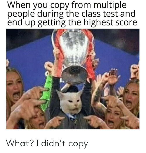 Test, Class, and Score: When you copy from multiple  people during the class test and  end up getting the highest score What? I didn't copy