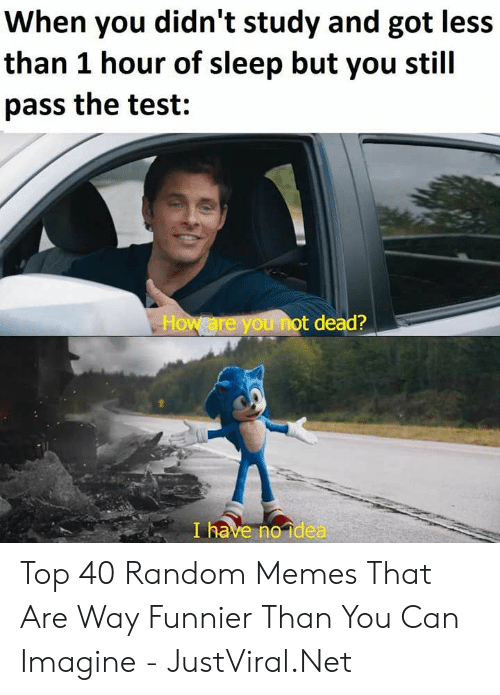 Random Memes: When you didn't study and got less  than 1 hour of sleep but you stil  pass the test:  How are you not dead?  I have no idea Top 40 Random Memes That Are Way Funnier Than You Can Imagine - JustViral.Net