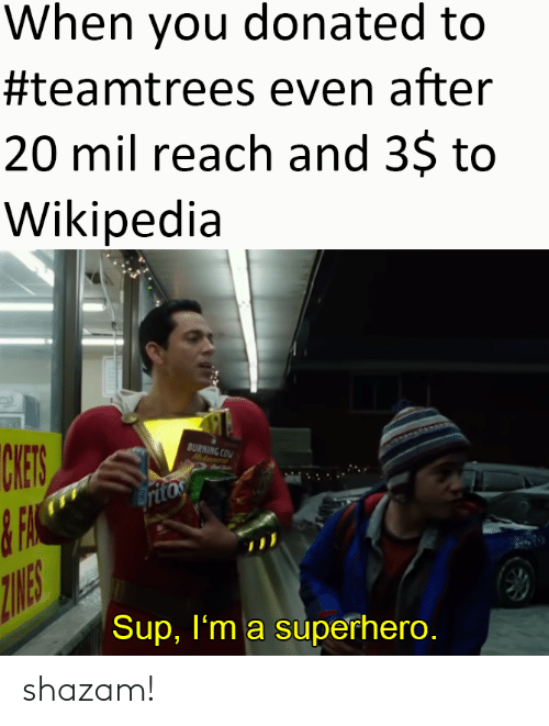 burning: When you donated to  #teamtrees even after  20 mil reach and 3$ to  Wikipedia  CHES  BURNING COM  Hatanent  ritos  ZINES  Sup, I'm a superhero. shazam!
