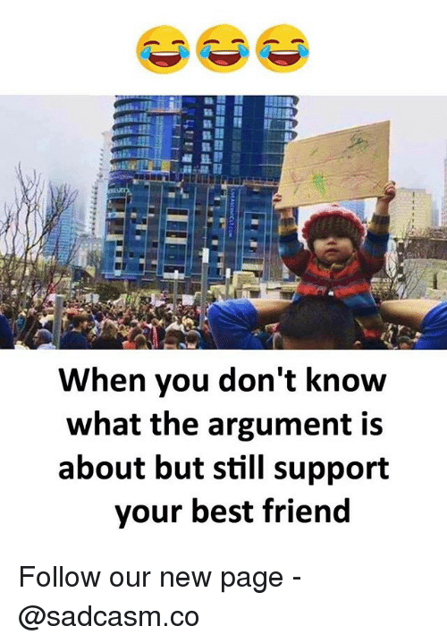 Best Friend, Memes, and Best: When you don't know  what the argument is  about but still support  your best friend Follow our new page - @sadcasm.co