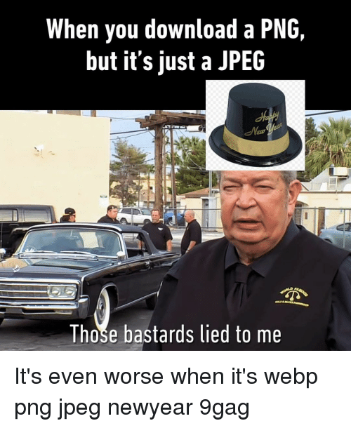 9gag, Memes, and 🤖: When you download a PNG,  but it's just a JPEC  Those bastards lied to me It's even worse when it's webp⠀ png jpeg newyear 9gag