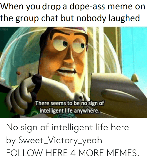 Intelligent Life: When you drop a dope-ass meme on  the group chat but nobody laughed  There seems to be no sign of  intelligent life anywhere. No sign of intelligent life here by Sweet_Victory_yeah FOLLOW HERE 4 MORE MEMES.