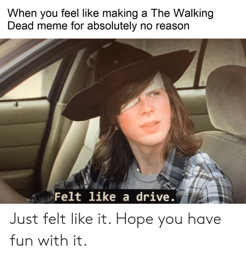 Meme, The Walking Dead, and Drive: When you feel like making a The Walking  Dead meme for absolutely no reason  Felt like a drive. Just felt like it. Hope you have fun with it.
