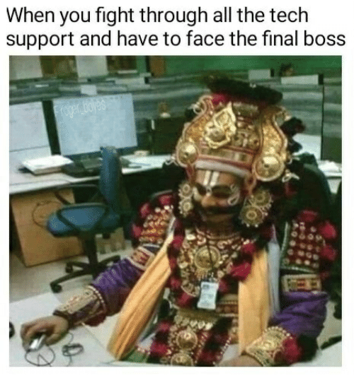 fightings: When you fight through all the tech  support and have to face the final boss