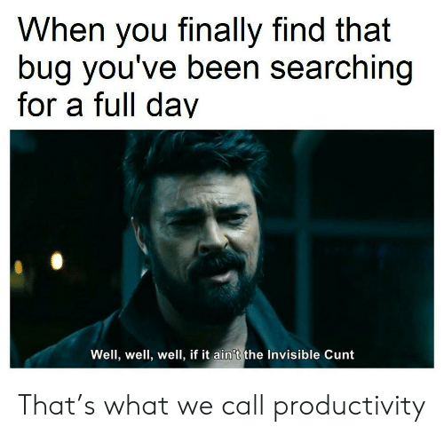 Cunt, Been, and Bug: When you finally find that  bug you've been searching  for a full day  Well, well, well, if it ain't the Invisible Cunt That's what we call productivity