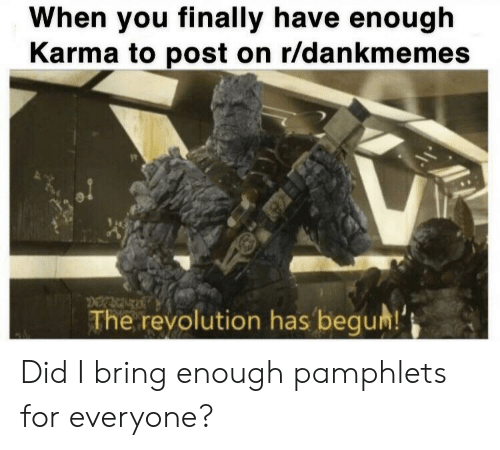 Begum: When you finally have enough  Karma to post on r/dankmemes  pt  The revolution has begum! Did I bring enough pamphlets for everyone?