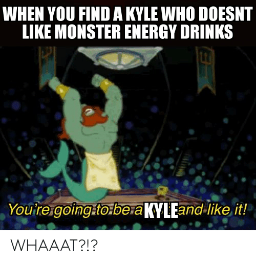 Energy, Monster, and Monster Energy: WHEN YOU FIND A KYLE WHO DOESNT  LIKE MONSTER ENERGY DRINKS  Youtre going to be aKYLEand-like it! WHAAAT?!?