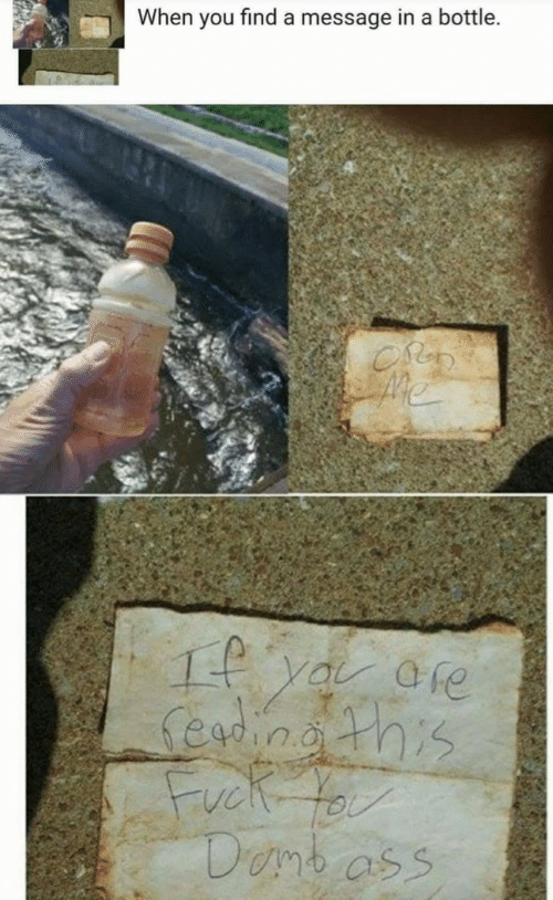 Ass, Message in a Bottle, and You: When you find a message in a bottle.  1 ya ore  Seingths  Danb ass