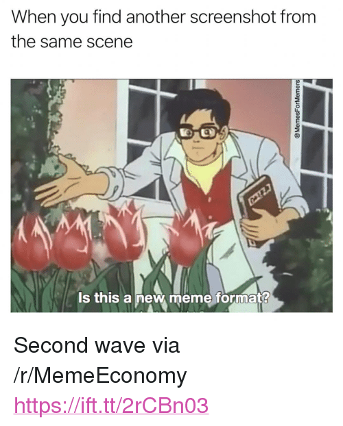 "Meme, Another, and Wave: When you find another screenshot from  the same scene  su  ls this a new meme format? <p>Second wave via /r/MemeEconomy <a href=""https://ift.tt/2rCBn03"">https://ift.tt/2rCBn03</a></p>"