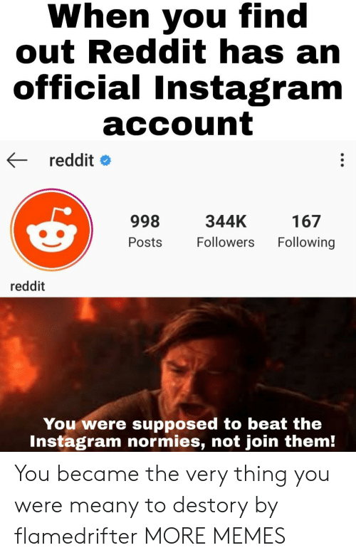Dank, Instagram, and Memes: When you find  out Reddit has an  official Instagram  account  reddit  998  344K  167  Following  Followers  Posts  reddit  You were supposed to beat the  Instagram normies, not join them! You became the very thing you were meany to destory by flamedrifter MORE MEMES