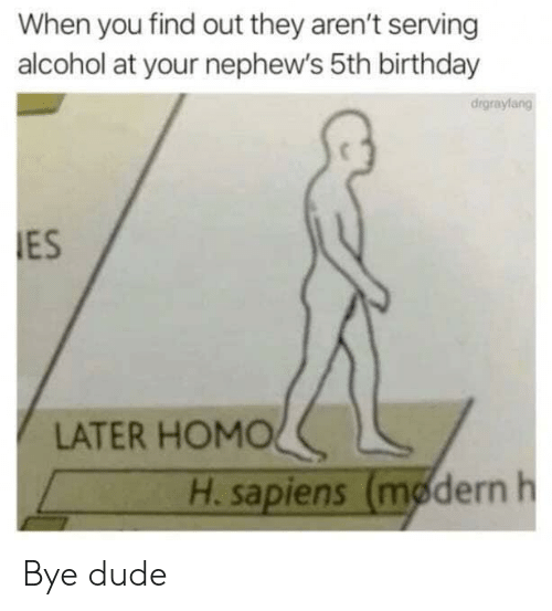 Birthday, Dude, and Alcohol: When you find out they aren't serving  alcohol at your nephew's 5th birthday  drgraylang  ES  LATER HOMOL  H sapiens (mødern h Bye dude
