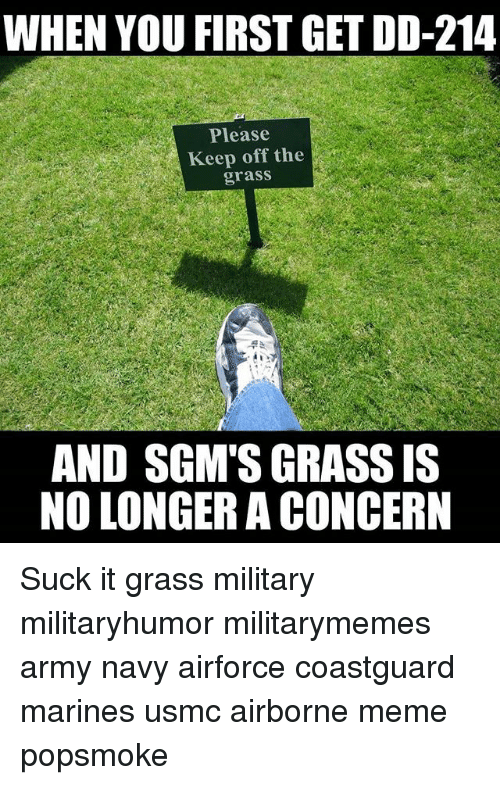 when you first get dd 214 please keep off the grass and sgm s grass