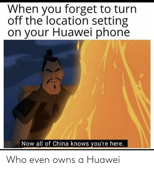 Now All Of China Knows Youre Here: When you forget to turn  off the location setting  on your Huawei phone  Now all of China knows you're here. Who even owns a Huawei