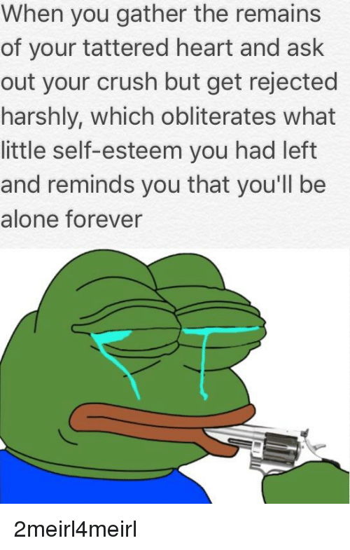 Being Alone, Crush, and Forever: When you gather the remains  of your tattered heart and ask  out your crush but get rejected  harshly, which obliterates what  little self-esteem you had left  and reminds you that you'll be  alone forever