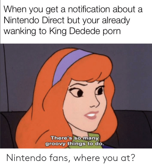Nintendo, Porn, and Dank Memes: When you get a notification about a  Nintendo Direct but your already  wanking to King Dedede porn  There's so many  groovy things to do. Nintendo fans, where you at?