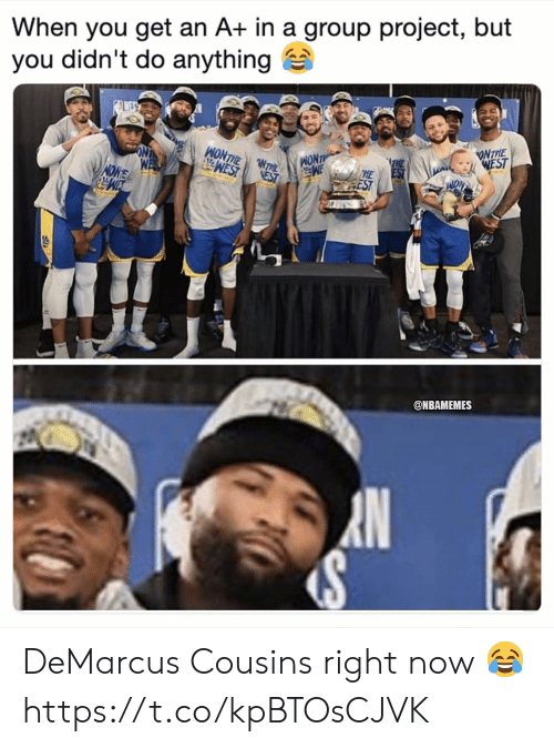 DeMarcus Cousins, Memes, and 🤖: When you get an A+ in a group project, but  you didn't do anything  ONTIE  @NBAMEMES DeMarcus Cousins right now 😂 https://t.co/kpBTOsCJVK
