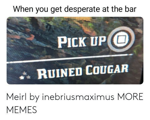 Dank, Desperate, and Memes: When you get desperate at the bar  PICK UP O  RUINED COUGAR Meirl by inebriusmaximus MORE MEMES